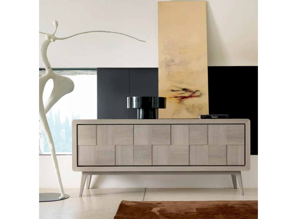 Nensi Sideboard mit 3 Türen in modernem Design aus massivem Nussbaumholz