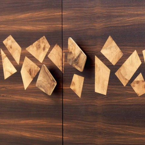 Modernes 3-Türer-Sideboard Grilli Zarafa aus Nussbaum- und Ebenholz