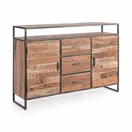 Modernes Sideboard mit Struktur aus Akazienholz und Stahl Homemotion - Posta