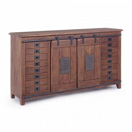 Vintage Style Sideboard aus Holz und Mdf mit Homemotion Steel Inserts - Pablo