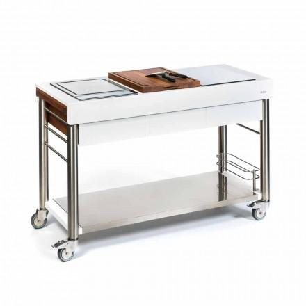 Außenküche auf Rädern des Designs, hohe Qualität in Holz und Stahl - Calliope
