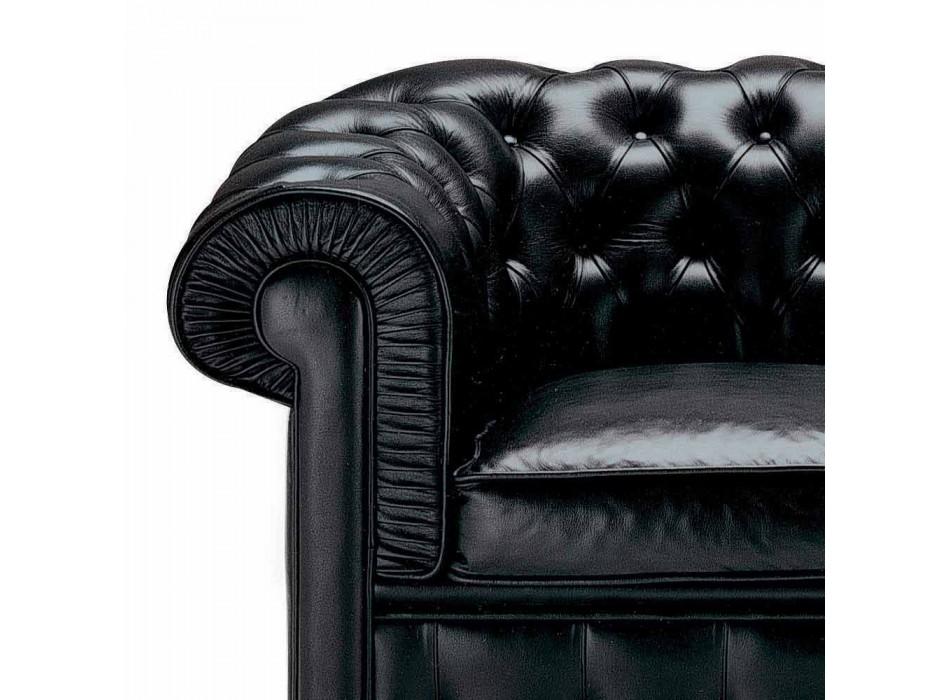 2-Sitzer-Sofa mit Lederbezug und Holzfüßen Made in Italy - Idra