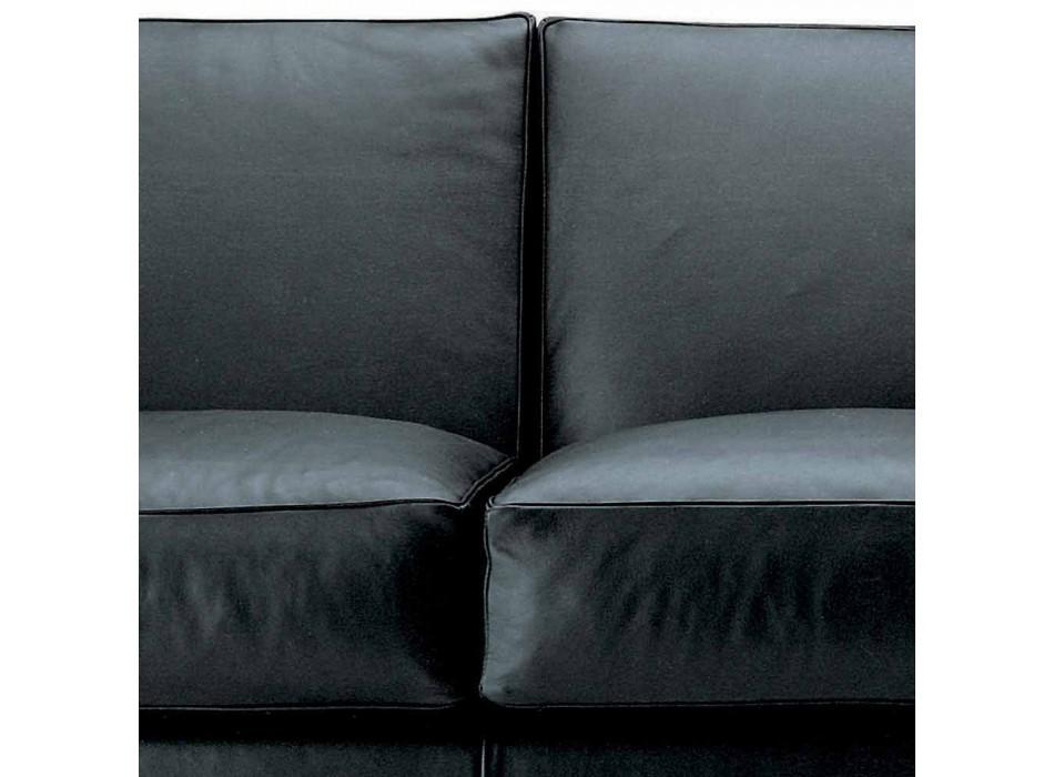 3-Sitzer-Sofa mit Lederbezug und Nussbaumfüßen Made in Italy - Alessandria