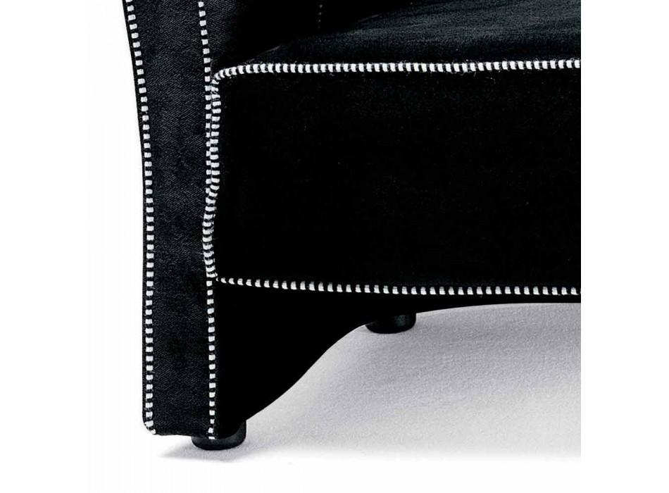 3-Sitzer-Sofa mit Samtbezug und weißen Nähten Made in Italy - Caster