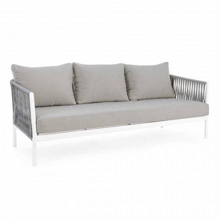Homemotion - Rubio 3-Sitzer Design Outdoor-Sofa in Weiß und Grau