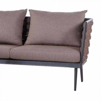 3-Sitzer-Gartensofa aus Aluminium und Seil mit Stoffkissen - Rasti