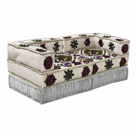 Ethnisches Design-Zweisitzer-Sofa aus Patchwork-Stoff - Faser