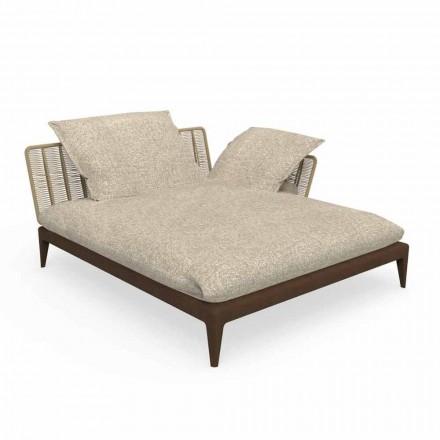 Garden Chaise Longue Sofa aus Teak und Stoff - Cruise Teak von Talenti