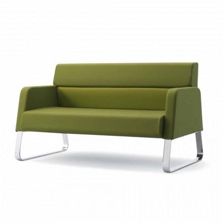 Sofa für Wartezimmer aus Tannenholz und Leder in modernem Design Ennio