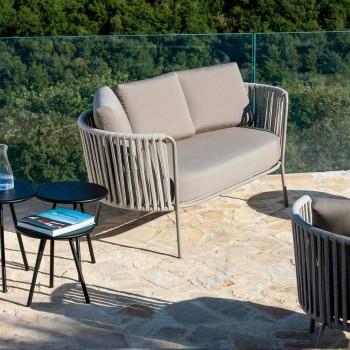 2-Sitzer-Outdoor-Sofa aus Metall, Stoff und Seil Made in Italy - Mari