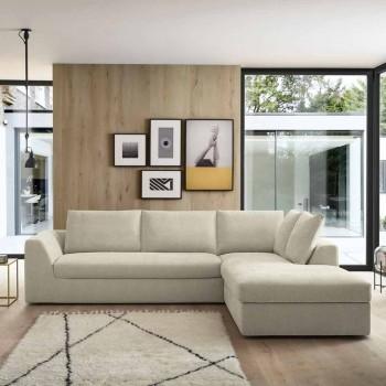 Design Eckschlafsofa aus beige Stoff Made in Italy - Ortensia