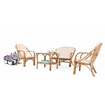 2-Sitzer-Outdoor-Sofa für den Garten in Rattan White Cushions - Maurizia