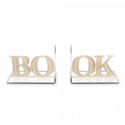 Design Buchstützen in Beige oder Weißem Plexiglas Geschriebenes Buch - Febook