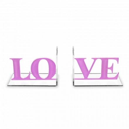 Design Buchstützen in Lavendel oder rotem Plexiglas Schriftliche Liebe - Felove