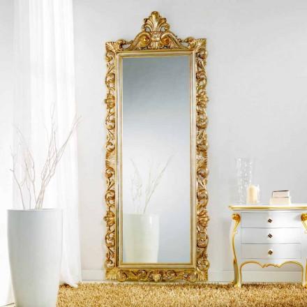 großer Standund Wandspiegel in Blattgold Tiara