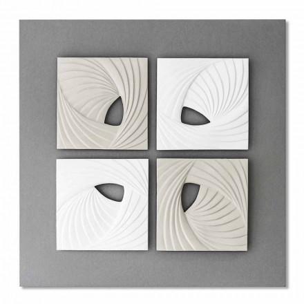 Dekorative Wandinstallation in modernem Design in Weiß und Grau - Bossy