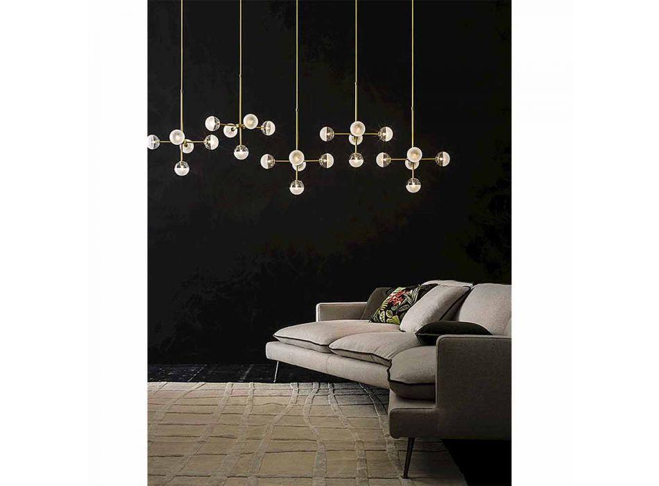 5 Lights Pendelleuchte aus natürlichem Messing und Glas - Molecola von Il Fanale