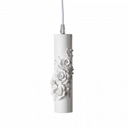Hängelampe aus mattweißer Keramik mit dekorativen Blumen - Revolution