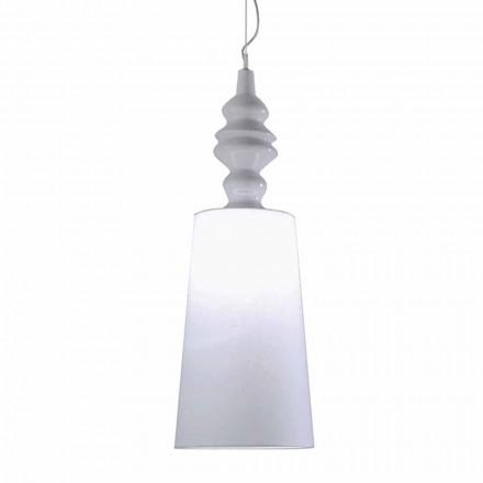 Hängelampe in Weiß Keramik Lampenschirm in Leinen Long Design - Cadabra