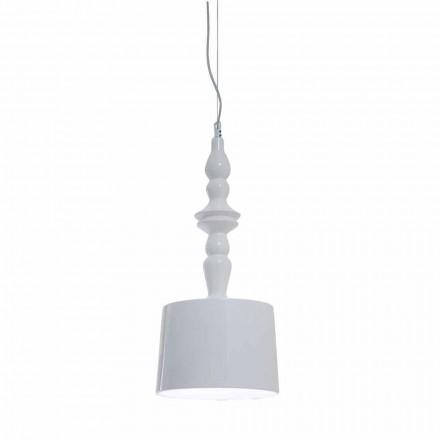 Hängelampenschirm kurz in weiß glänzendem Keramikdesign - Cadabra