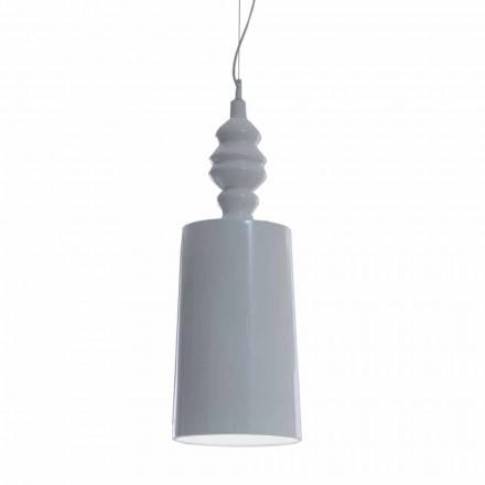 Hängelampenschirm in glänzend weißer Keramik - Cadabra