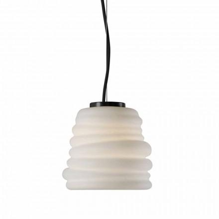 Wohnzimmer-Hängelampe aus weißem Satinglas 3 Dimensionen - weich