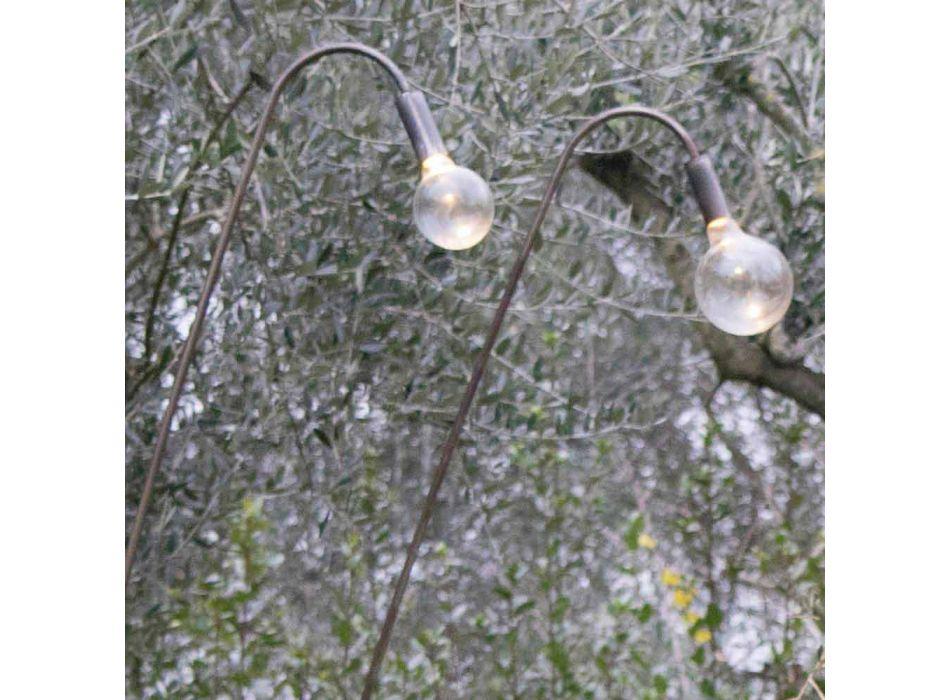 Artisan Außenlampe aus Eisen und dekorativem Glas Made in Italy - Beba
