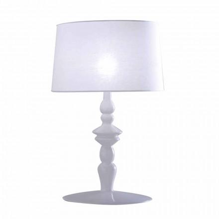 Tischlampe aus weißem Keramik- und Leinenlampenschirm 2 Abmessungen - Cadabra