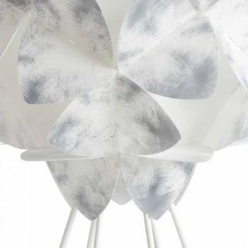 Moderne Tischlampe aus weißem Metall, 46 cm Durchmesser, Kaly