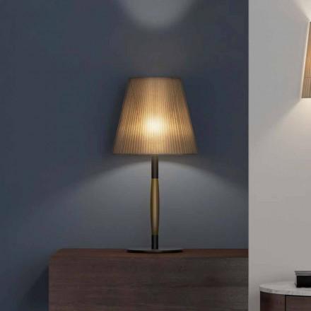 Moderne Tischlampe aus Metall, Holz und Organza Made in Italy - Boom