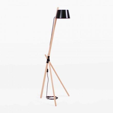 Design Stehleuchte aus Buchenholz und lackiertem Metall - Avetta