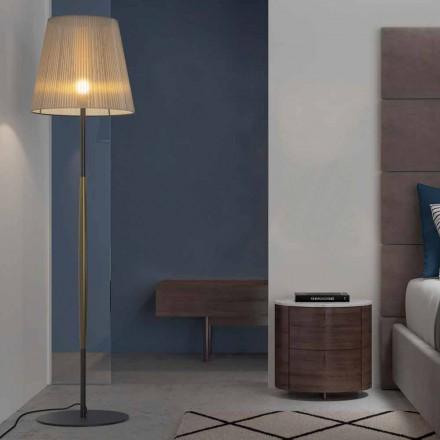 Design Stehleuchte aus Metall, Holz und Organza Made in Italy - Boom