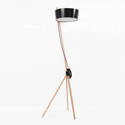 Stehlampe aus Holz und Metall mit Details aus veganem Leder - Avetta