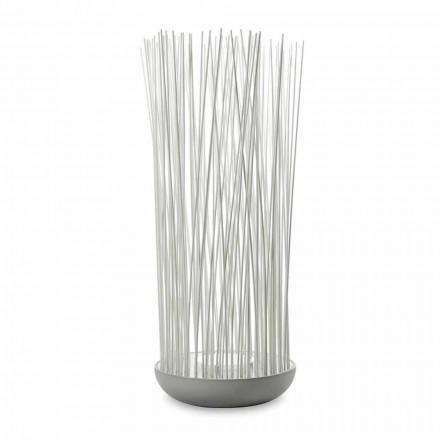 LED Stehleuchte aus grauem Technopolymer und weißen PVC-Stäben - Touch