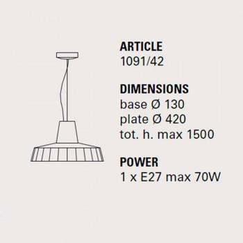 Hängelampe 42 cm aus Messing und toskanischer Majolika Rossi - Toscot