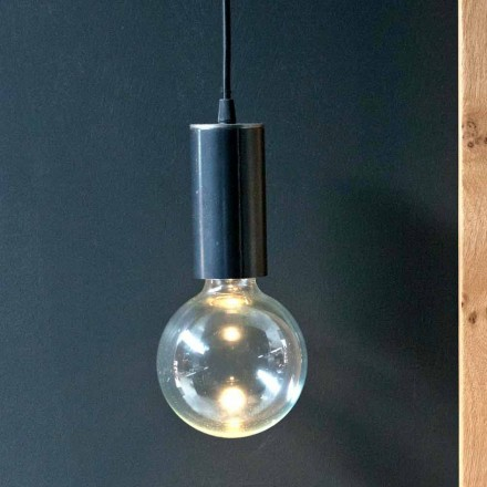 Hängelampe aus Eisen und Glas mit Baumwollkabel Made in Italy - Ampolla
