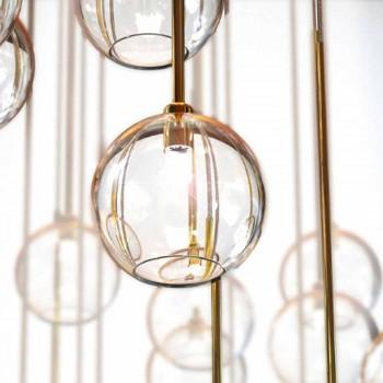 40-flammiger Kronleuchter aus poliertem Messing und Glas Made in Italy, Luxus - Selene