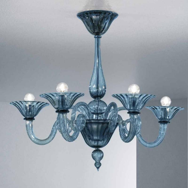 Artisan Glass Kronleuchter mit 5 Lichtern aus Venedig, Made in Italy - Margherita
