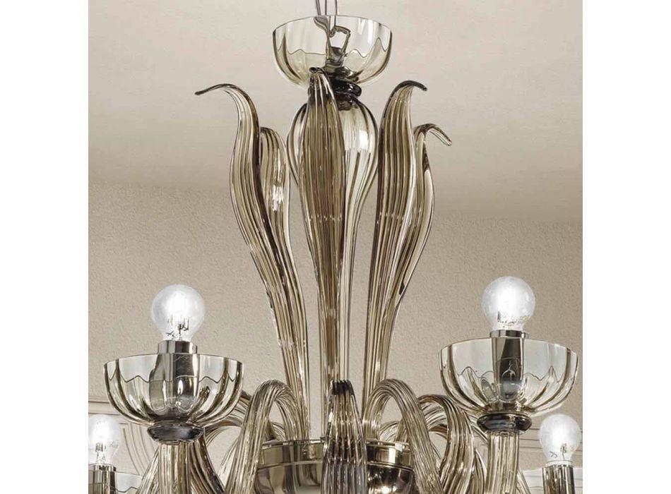 6-flammiger venezianischer Glas-Kronleuchter, handgefertigt in Italien - Regina