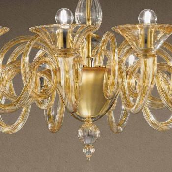 12-flammiger handgemachter venezianischer Glas-Kronleuchter Made in Italy - Margherita
