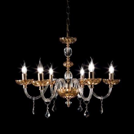 Klassischer Kronleuchter aus 6 Leuchten in Belle Glas und Kristall