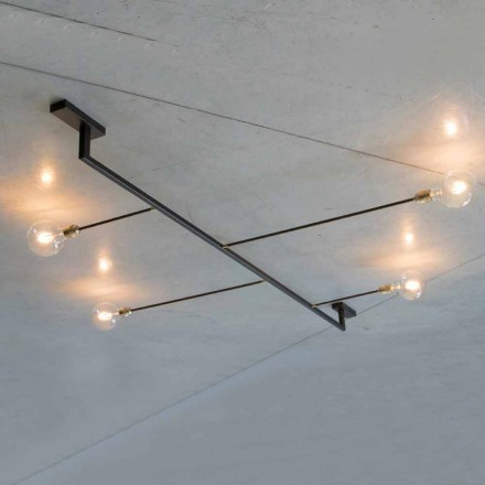 Handgemachter Design Kronleuchter aus Eisen mit 4 Lichtern Made in Italy - Anima