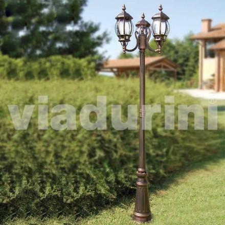 Outdoor-Laternenpfahl mit dreiLeuchten aus Aluminium, made in Italy, Anika