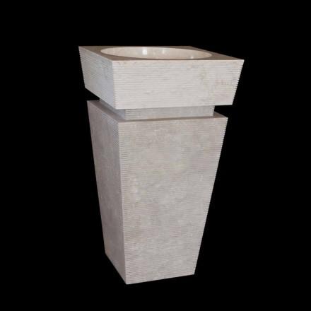 Standwaschbecken aus Naturstein weiß Sire, handgemacht