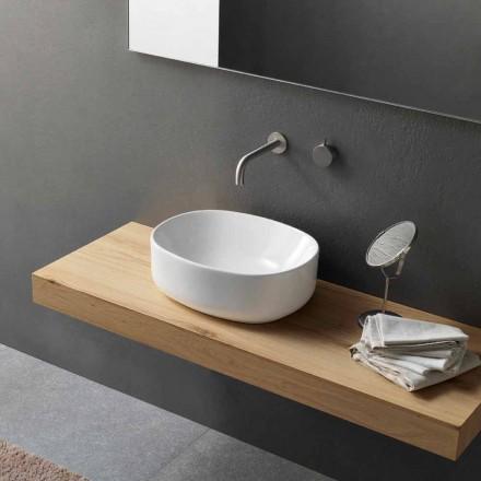 Ovales Arbeitsplattenwaschbecken mit modernem Design aus weißer Keramik - Ventori2