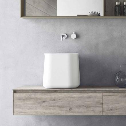 High Square Modern Design Arbeitsplatte Waschbecken aus weißem Harz - Tulyp