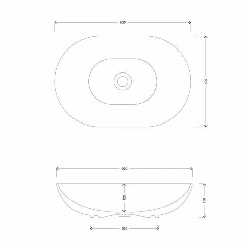 Aufsatzwaschbecken im ovalen Design aus Keramik Made in Italy - Chain