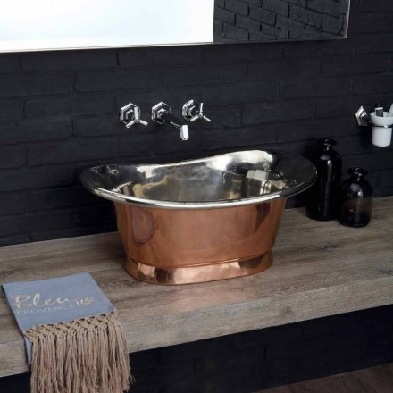 Aufsatzwaschbecken aus Kupfer und Eisen weiß Cala