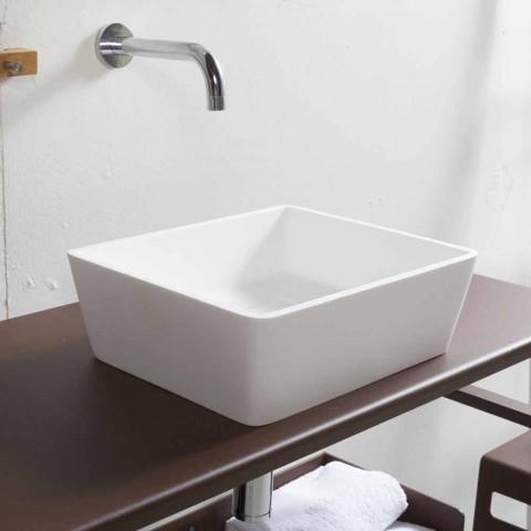 Weißes Mineralwerkstoff-Aufsatzwaschbecken mit verdecktem Ablauf - Sider