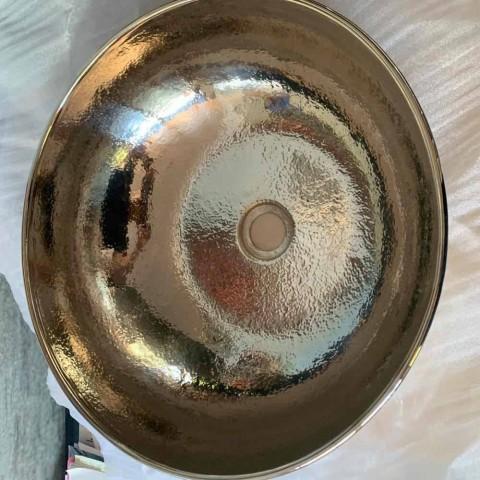 Beckenform Aufsatzwaschtisch in Nickel-Kupfer-Optik - Babaevo
